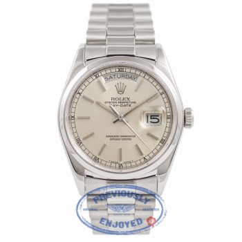 Rolex Day Date President 36MM Platinum Domed Bezel Silver Dial 118206 M5PXH4 - Beverly Hills Watch Company Watch Store