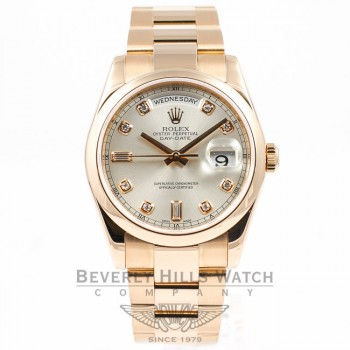 ROLEX Day Date Rose Gold Oyster Bracelet Smooth Bezel Silver Diamond Dial Watch 118205 Beverly Hills Watch Company Watches