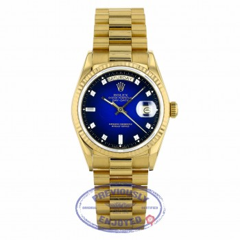 Rolex Day-Date 36mm 18k Yellow Gold President Bracelet Blue Diamond & Baguette Dial 18038 TRP28J - Beverly Hills Watch