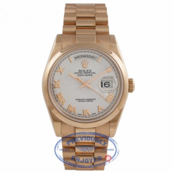 Rolex Day-Date Oyster Perpetual 18k Rose Gold 36MM 118205 2JUHW0 - Beverly Hills Watch Company Watch Store
