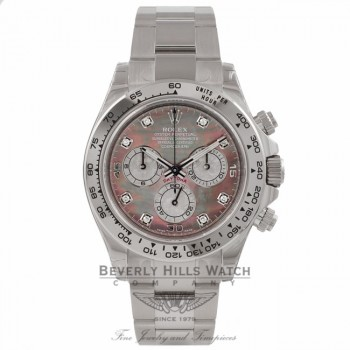 Rolex Daytona 40MM Chronograph 18K White Gold Mother of Pearl Diamond Dial 116509 - Beverly Hills Watch Store