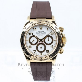 Rolex Daytona 18k Yellow Gold Case Brown Rubber B Strap Gold Deployment Buckle 16518 Beverly Hills Watch Company Watches