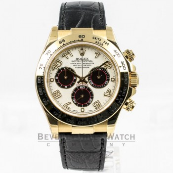 Rolex Daytona 18K Yellow Gold Case Alligator Leather Strap Ivory Arabic Dial Watch 116518 Beverly Hills Watch Company Watches