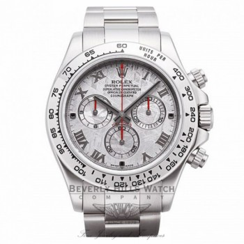 Rolex Cosmograph Daytona Meteorite Roman Dial Oyster Bracelet 18k White Gold 116509 9MRHDC - Beverly Hills Watch Company