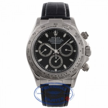 Rolex Daytona 40MM White Gold Black Dial Black Alligator Strap 116519 QN58JK - Beverly Hills Watch Company Watch Store
