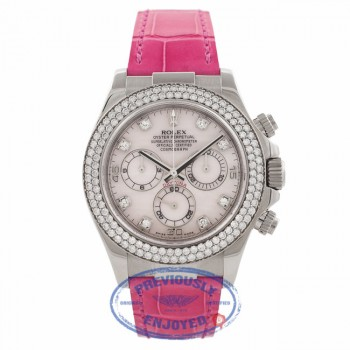 Rolex Daytona 40MM 18k White Gold Diamond Bezel Pink Mother of Pearl 116589 QTDN32 - Beverly Hills Watch Company Watch Store