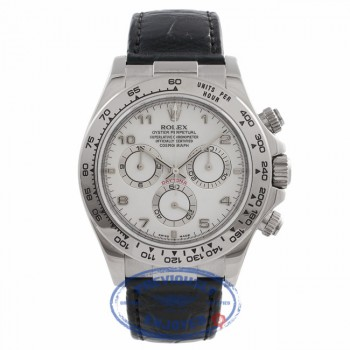 Rolex Daytona 40MM White Gold White Dial Black Alligator Strap 116519 VVVKFJ - Beverly Hills Watch Store