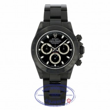 Rolex Daytona Black DLC Stainless Steel Black Dial 116520 75VQDR - Beverly Hills Watch Company