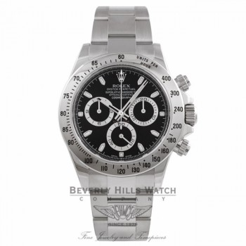 Rolex Daytona Stainless Steel Black Dial 116520 Rolex Daytona Stainless Steel Oyster Bracelet Black Dial 116520 E53CFP - Beverly Hills Watch Company Watch Store