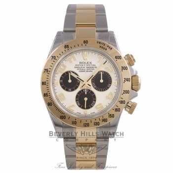 Rolex Daytona Stainless Steel and 18K Gold Oyster Bracelet Chronograph Ivory Dial Black Subdials 116523 EZVH0N - Beverly Hills Watch Company