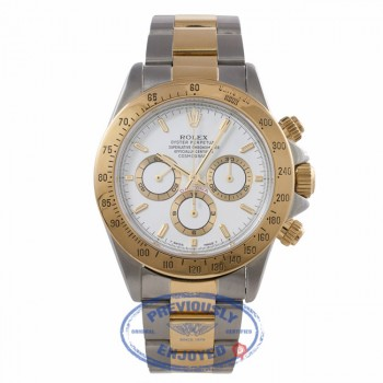 Rolex Daytona Yellow Gold Stainless Steel White Dial 116523 TE20H6 - Beverly Hills Watch Company Watch Store