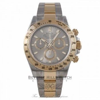Rolex Daytona Yellow Gold Stainless Steel Grey Dial 116523 J893VY - Beverly Hills Watch Company Watch Store