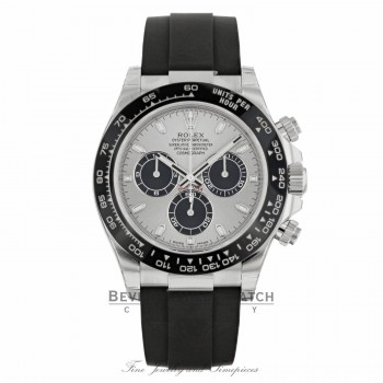 Rolex Daytona 40mm 18k White Gold Silver Dial Oysterflex 116519LN A49TKQ - Beverly Hills Watch Company