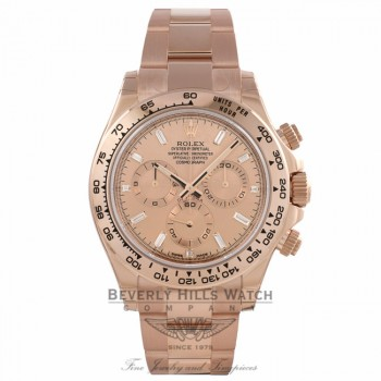 Rolex Daytona Everose Gold 40mm Oyster Bracelet Pink Champagne Diamond Dial Chronograph Watch 116505 1PAUHT - Beverly Hills Watch Company