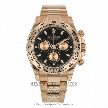 Rolex Daytona Everose Gold Oyster Bracelet Black Dial Watch 116505 60E7HT - Beverly Hills Watch Company