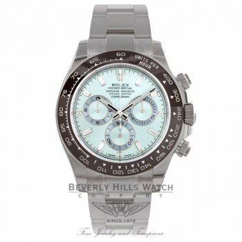 Rolex Daytona 40MM Platinum Chestnut Brown Monobloc Cerachrom Bezel Ice Blue Diamond Dial 116506 D9TM13 - Beverly Hills Watch Company Watch Store