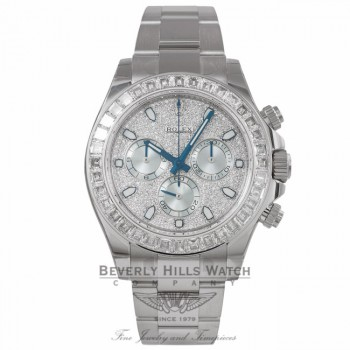 Rolex Cosmograph 40MM Daytona Diamond Pave Dial Platinum 116576TBR JX58L4 - Beverly Hills Watch Store