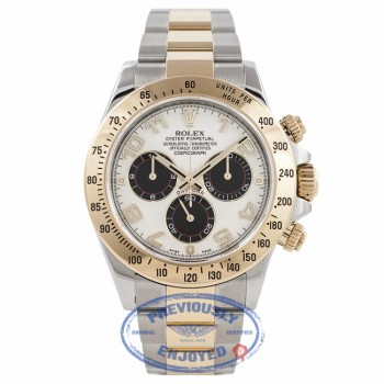 Rolex Daytona Two Tone White Dial Black Subdials 116523 CJQHNA - Beverly Hills Watch Company Watch Store