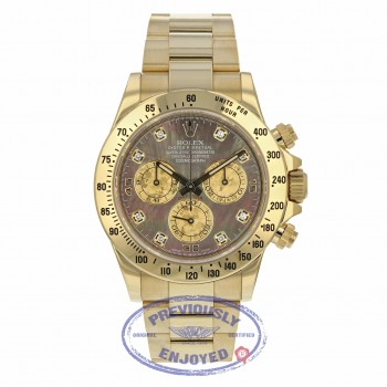 Rolex Daytona 40MM Yellow Gold Dark Mother of Pearl Diamond Dial 116528 RRZ356