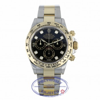 Rolex Cosmograph Daytona 40mm Stainless Steel 18K Yellow Gold Black Diamond Dial 116503 86UEQ3