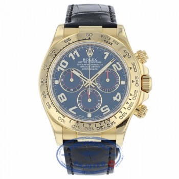 Rolex Daytona 40mm Yellow Gold Blue Dial Alligator Strap Watch 116518 HEP73Z