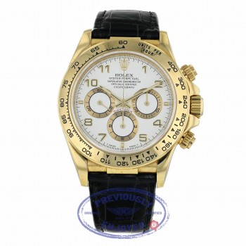 Rolex Daytona Zenith Movement Yellow Gold White Dial Alligator Strap 16518 WEA4N5 - Beverly Hills Watch Company