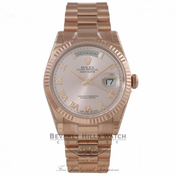Rolex Day-Date President 36mm Everose Pink Roman Dial Fluted Bezel President Bracelet 118235 DLA7T2 - Beverly Hills Watch Company Watch Store