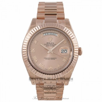 Rolex Day Date II 41mm Everose Pink Champagne Dial Watch 218235 VXFZ2V - Beverly Hills Watch Company Watch Store