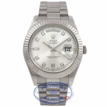 Rolex Day-Date II 18K White Gold Silver Diamond Dial Fluted Bezel President 218239 TPUF62- Beverly Hills Watch Company Watch Store