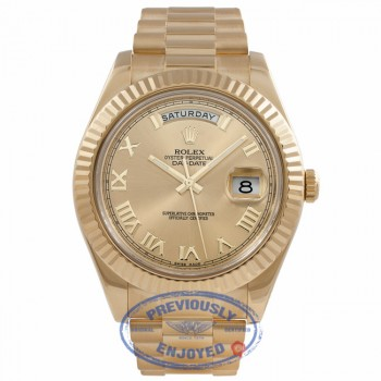 Rolex Day-Date II President 41MM 18K Yellow Gold Fluted Bezel Champagne Dial 218238 ZVPPNZ - Beverly Hills Watch Company Watch Store