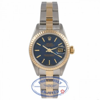 Rolex Datejust 26MM 18k Yellow Gold Stainless Steel Fluted Bezel Blue Dial 79173 YJXZ6E - Beverly Hills Watch Company Watch Store