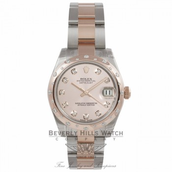 Rolex DayJust 18k Rose Gold Stainless Steel Diamond Rose Gold Domed Bezel Pink Champagne Diamond Dial 178341 T80XX2 - Beverly Hills Watch Company Watch Store