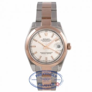 Rolex DateJust 31mm Rose Gold and Stainless Steel Silver Dial 178241 E7THLL - Beverly Hills Watch Company Watch Store