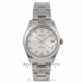 Rolex Datejust 31mm Stainless Steel Oyster Bracelet Jubilee Diamond Dial White Gold Fluted Bezel Watch 178274 Beverly Hills Watch Company Watches Watch Store