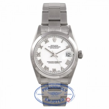Rolex Datejust 31MM Stainless Steel White Dial Roman Numerals Oyster Bracelet 78240 9Z9076 - Beverly Hills Watch Company Watch Store
