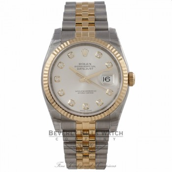 Rolex Datejust 36MM 18K Yellow Gold Stainless Steel 18k Yellow Gold Fluted Bezel Silver Diamond Dial 116233 0HE232 - Beverly Hills Watch Company Watch Store