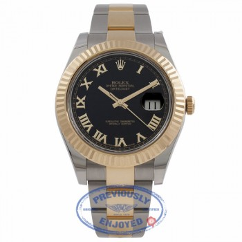 Rolex Datejust II 41mm Stainless Steel and Yellow Gold Black Dial Gold Roman Numerals 116333 DY9X9M - Beverly Hills Watch Store