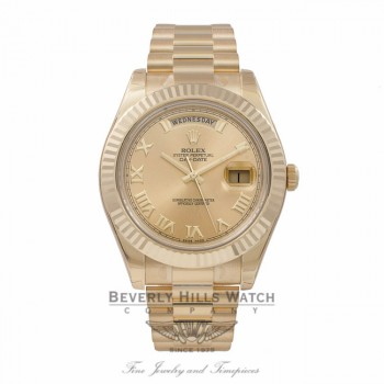 Rolex Day-Date II President 41MM 18K Yellow Gold Fluted Bezel Champagne Dial Roman Markings President Bracelet 218238 EUN30C - Beverly Hills Watch Store