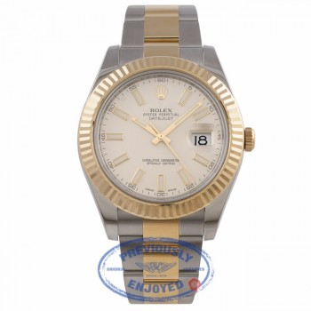 Rolex Datejust II 41mm Stainless Steel and Yellow Gold Ivory Index Dial 116333 2Y5F9H - Beverly Hills Watch Company Watch Store