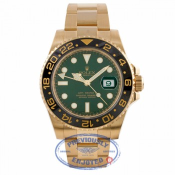 Rolex GMT Master II 18K Yellow Gold Green Dial Black Ceramic Bezel 116718 P9HQ58 - Beverly Hills Watch Company Watch Store