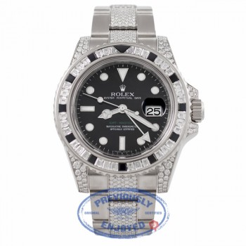 Rolex GMT MASTER II 40mm 18K White Gold Diamond Case Black Dial Diamond Sapphires Bezel Watch 116759SANR - Beverly Hills Watch Company Watch Store