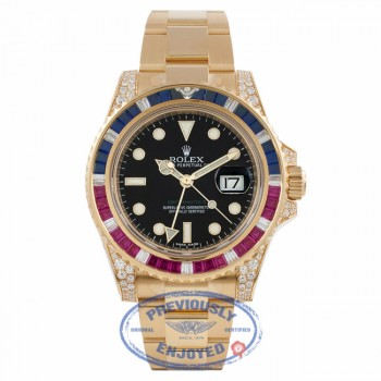 Rolex GMT Master II 18K Yellow Gold Black Dial Rubies & Sapphire Bezel Diamond Case 116758SARU JZHMPX  - Beverly Hills Watch Company Watch Store