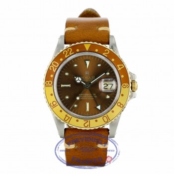 "Rolex GMT-Master II ""Root-Beer"" Brown Strap 1675 LXWE4L - Beverly Hills Watch"
