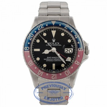 Rolex GMT MASTER Stainless Steel Blue and Red 'Pepsi' Bezel Vintage Watch 1675 E4U51D - Beverly Hills Watch Company Watch Store