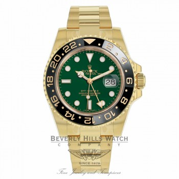 Rolex GMT Master II 18K Yellow Gold Green Dial Black Ceramic Bezel 116718LN XMKR1N - Beverly Hills Watch Company