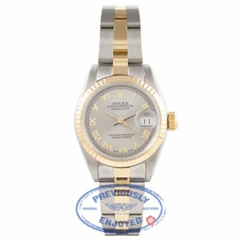 Rolex Ladies Datejust 18k Yellow Gold Stainless Steel Silver Roman Numeral Dial 69173 5FHSFF- Beverlyhills Watch Company Watch Store