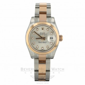 Rolex Lady Datejust 26mm Domed Bezel Everose Stainless Steel Silver Diamond Dial Oyster Bracelet 179161 Q1LL65 - Beverly Hills Watch