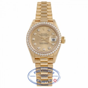 Rolex Datejust President 26MM Ladies 18k Yellow Gold Diamond Bezel Champagne Diamond Dial 69138 WCSWZZ - Beverly Hills Watch Company Watch Store