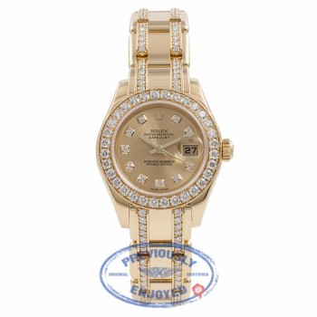 Rolex Masterpiece Oyster Perpetual DateJust Pearl Master 18k Yellow Gold Diamond Bezel Champagne Dial 80298.74948 6XJJA6 - Beverly Hills Watch Company Watch Store