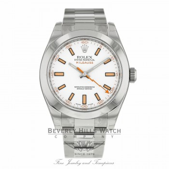 Rolex Milgauss 40mm White Dial Stainless Steel 116400 PT6UHC - Beverly Hills Watch Company